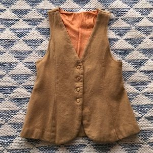 Vintage Handmade Wool Vest Gold Tone Buttons XS S